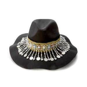 Dichai Black Floppy Hat with Lao Silk Hatband with Burma Coins and Hand Beaded Detail