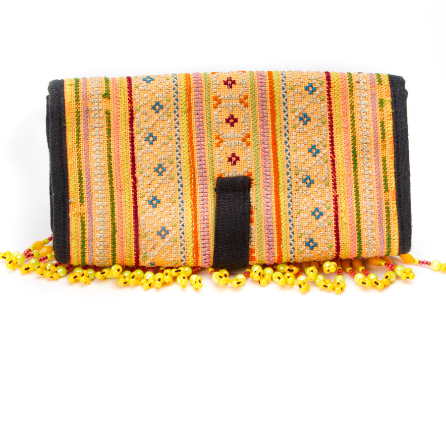 Chibkan Yellow Printed Textile Wallet with Hand Beaded Detail