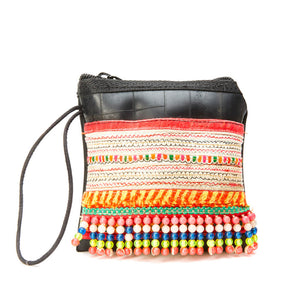 Mahina Upcycled Multi Color Printed Tire Clutch Wristlet with Hand Beaded Details