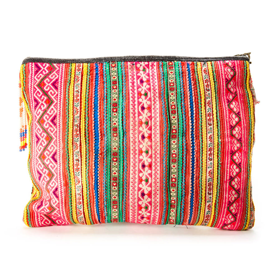 Napua Multi Color Printed IPad/ Tablet Clutch with Hand Beaded Details and Pom Pom Tassel