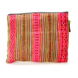 Sikhi Multi Color Printed Clutch with Pattern Hand Beaded Details and Pom Pom Tassel Keychain