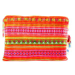 Soeng Multi Color Printed Clutch with Pattern Hand Beaded Detail with Hand Beaded Keychain