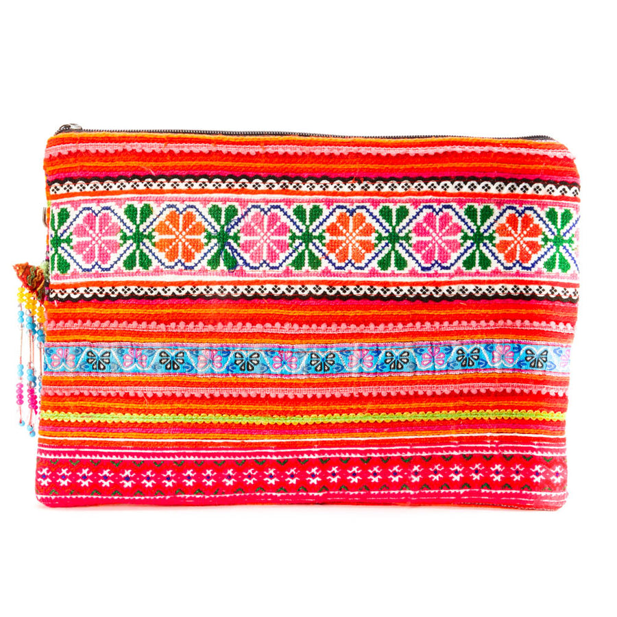 Dokkulab Multi Color Hmong Textile Clutch with Hand Beaded Tassel Detail and Hand Beaded Keychain