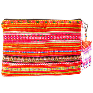 Sifa Multi Color Printed Clutch with Pattern Hand beaded details and Hand Beaded Keychain
