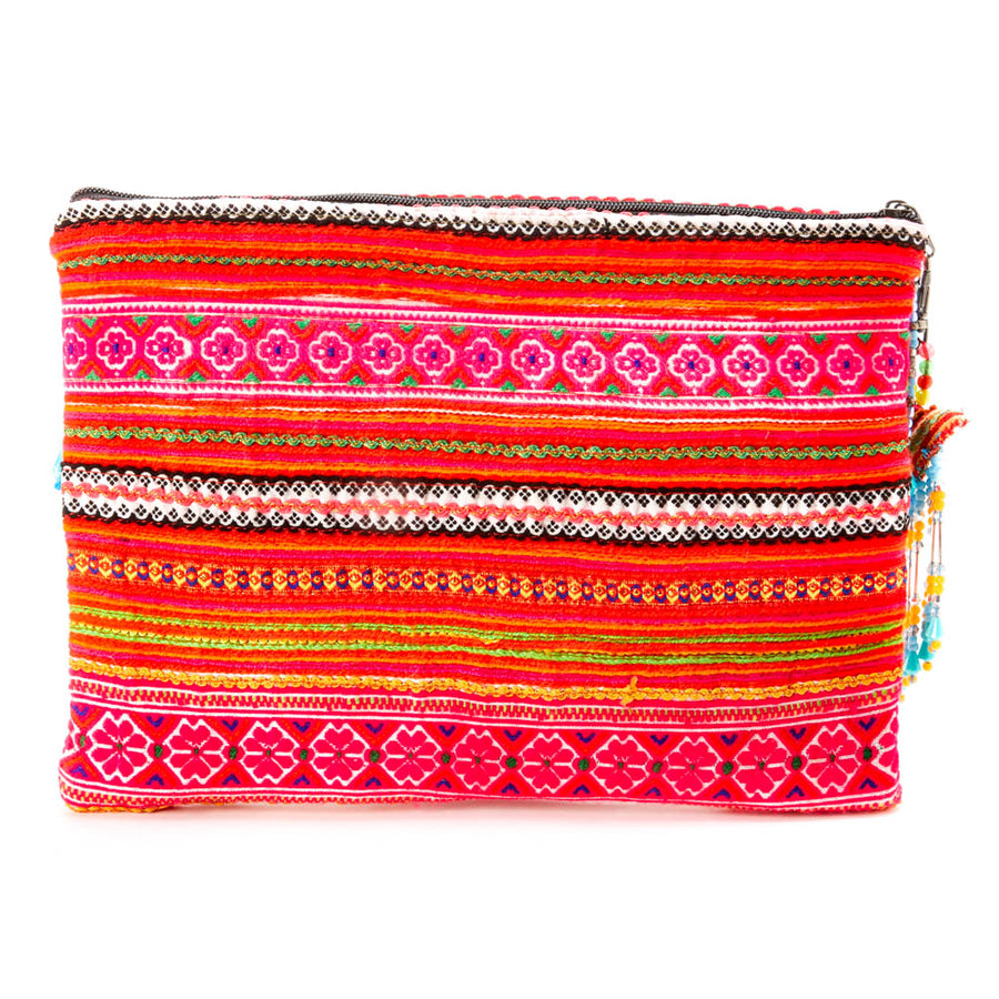 Kam Multi Color Printed Clutch with Pattern Hand Beaded Details with Hand Beaded Keychain