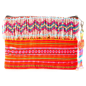Akkhi Beaded Design Clutch with Beaded Tassle keychain