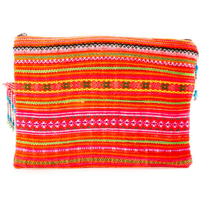 Khao Multi Color Printed Clutch with Turquoise Hand Beaded Details and Hand Beaded Keychain