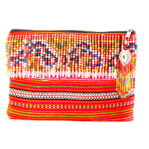 Fa Multi Color Hmong Textile Clutch with Hand Beaded Tassel Detail and Hand Beaded Keychain