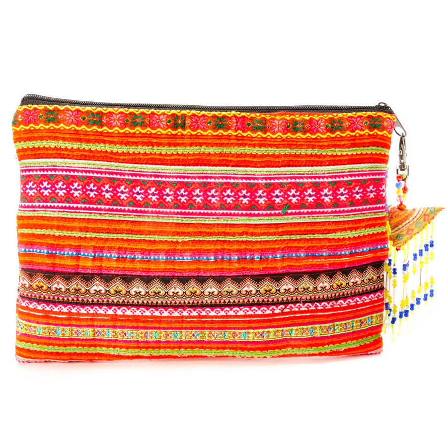 Suan Multi Color Printed Clutch with Yellow Printed Hand Beaded Details and Hand Beaded Keychain