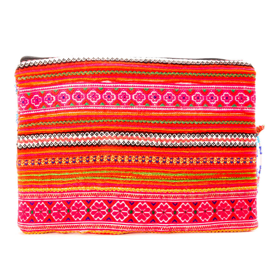 Phusana Multi Color Printed Clutch With Pattern Hand Beaded Detail with Hand Beaded Keychain