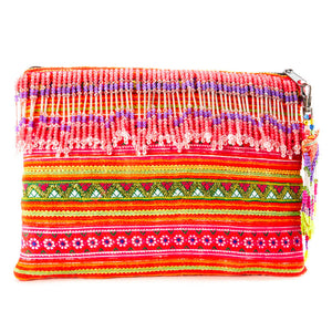 Pualani Multi Color Printed Clutch with Pattern Hand Beaded Detail with Hand Beaded Keychain