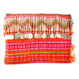 Vithad Multi Color Printed Clutch with Pattern Hand Beaded and Coin Details and Hand Beaded Keychain