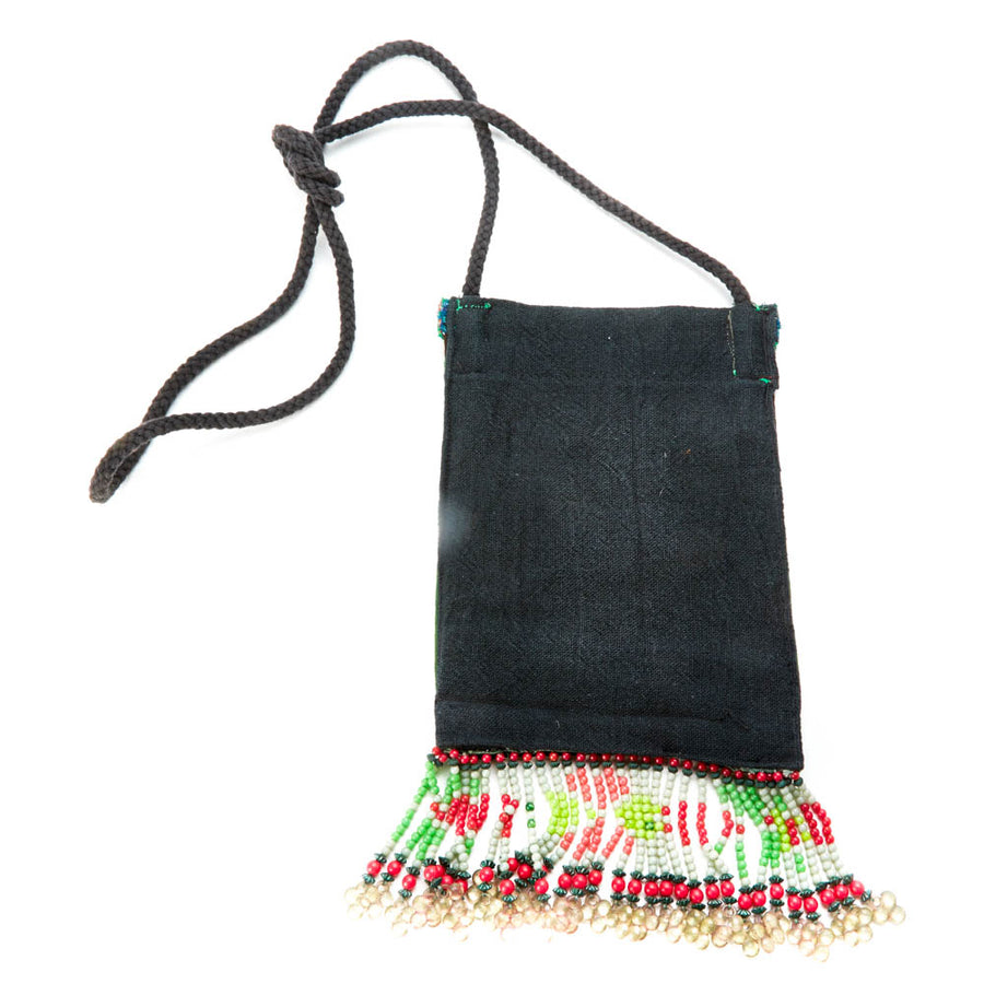 Varuka Upcycled Green Multi Color Hmong Pocket Crossbody with Hand Beaded Detail
