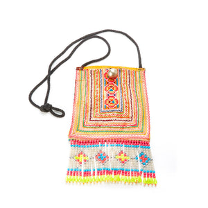 Sia Upcycled Hmong Pocket Festival Crossbody with Hand Beaded Detail