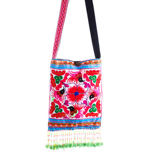 Aelv Upcycled Pink Multi Color Black Bird Printed Crossbody with Hand Beaded Detail and Mini Yarn Tassel