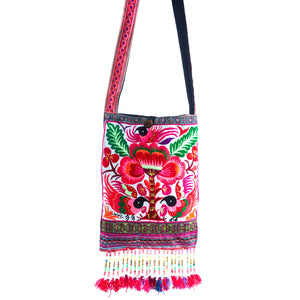 Valahok Upcycled Pink Multi Color Black Bird Printed Festival Crossbody with Hand Beaded Detail and Mini Yarn Tassel
