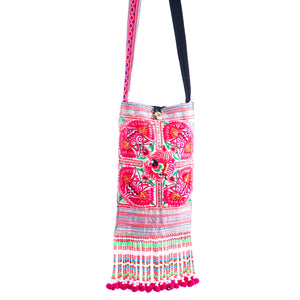 Namtok Upcycled Pink Multi Color Printed Festival Crossbody with Hand Beaded Detail and Mini Yarn Tassel Detail
