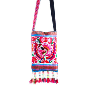 Lon Upcycled Pink Multi Color Black Bird Printed Festival Crossbody with Hand Beaded Detail and Mini Yarn Tassel