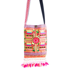 Mai Upcycled Pink Multi Color Printed Festival Crossbody with Hand Beaded Detail and Mini Yarn Tassel