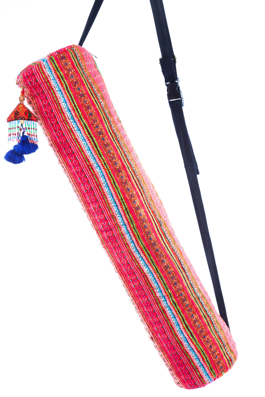 Nam Multi Color Printed Yoga Bag with Blue Pom Pom Tassel