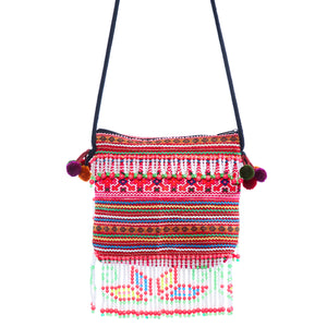 Siuaa Pink Multi Color Printed Crossbody with Pattern Hand Beaded Detail and Pom Pom