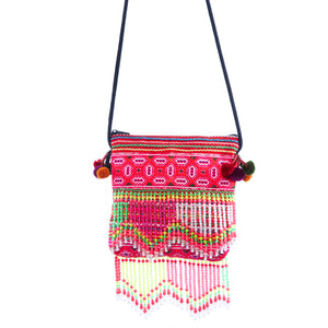 Dara Pink Multi Color Crossbody with Beaded Fringe and Pom Pom Detail