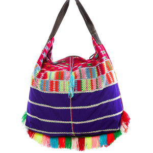 Akela Purple Multi Color Oversized Shoulder Bag with Yarn Details