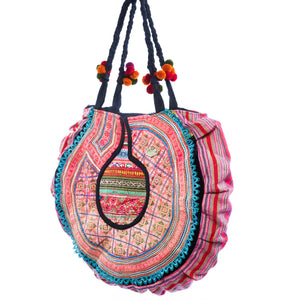 Pinya Upcycled Blue and Pink Printed Circle Shoulder Bag with Hand Beaded and Pom Pom Details