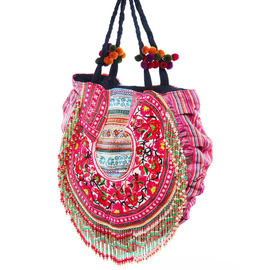 Savan Upcycled Pink Printed Circle Shoulder Bag with Hand Beaded and Pom Pom Details