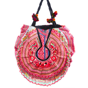 Deoun Upcycled Hmong Textile Shoulder Bag with Pom Pom and Hand Beaded Detail