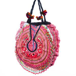 Deuon Upcycled Hmong Textile Shoulder Bag with Pom Pom and Hand Beaded Detail