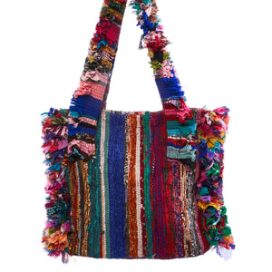 Surang Multi Color Raffia Shoulder Bag with Beaded Keychain