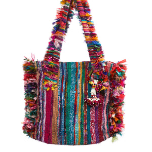Pekelo Multi Color Raffia Shoulder Bag with Beaded Tassel Keychain