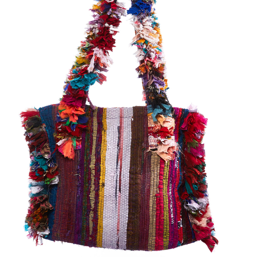 Chara Multi Print Raffia Shoulder Bag with Beaded Pom Pom Tassle