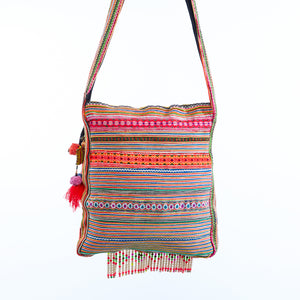 Peni Multi Color Printed Crossbody with Hand Beaded Details with Pom Pom Keychain