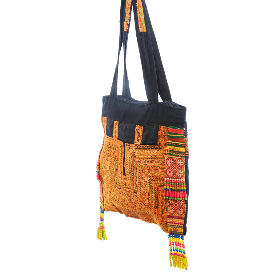 Mya Orange Printed Shoulder Bag with Hand Beaded Details