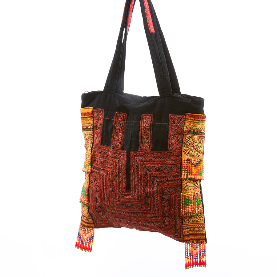 Pualani Red Printed Shoulder Bag with Hand Beaded Details