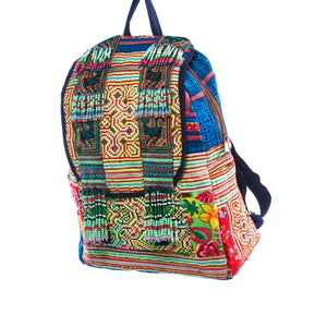 Nakfon Multi Color Printed Tribal Backpack with Hand Beaded Detail