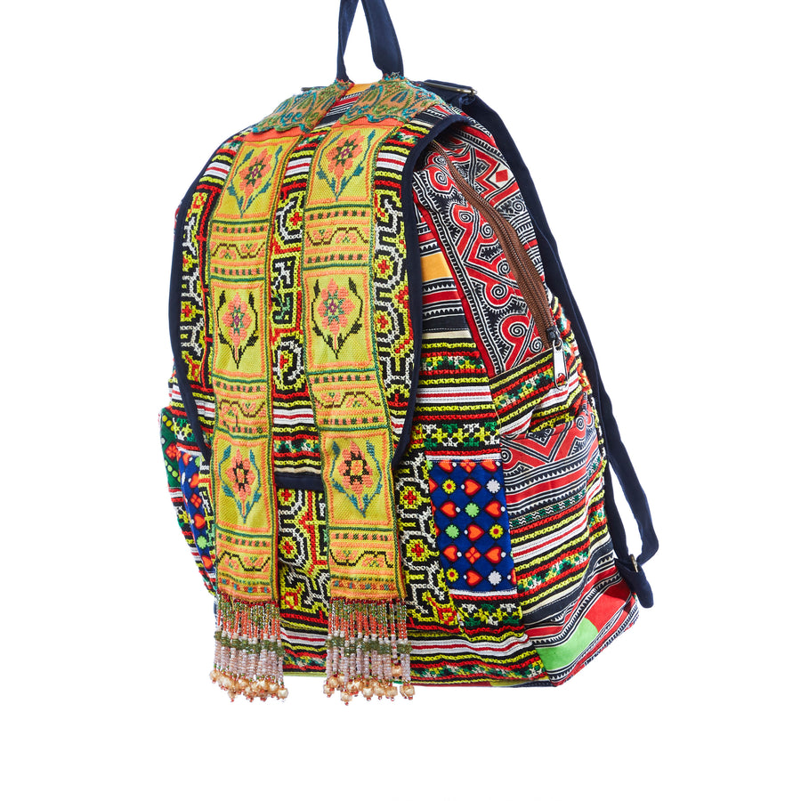 Omthana Yellow Multi Color Printed Tribal Backpack with Hand Beaded Details