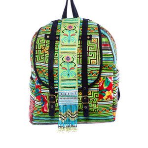 Mahina Lime Green Multi Color Printed Backpack with Hand Beaded details