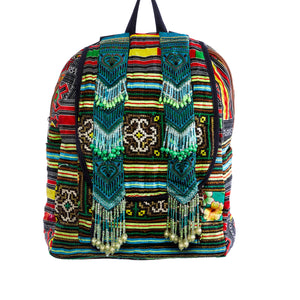 Soeng Multi Color Printed Tribal Backpack with Hand Beaded details