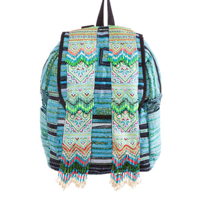 Okl Turquoise Printed Tribal Backpack with Hand beaded details