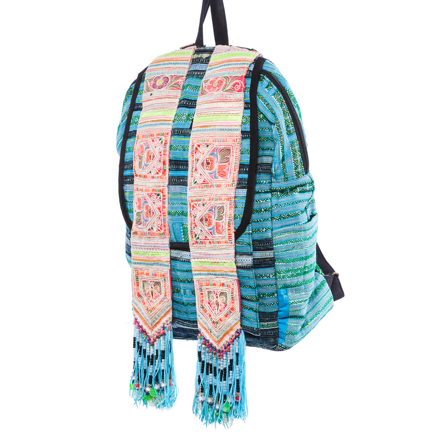 Napua Turqouise multi color printed hmong textile backpack with hand beaded details