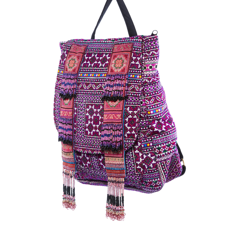 Peni Purple Multi Color Printed Tribal Backpack with Hand Beaded Details