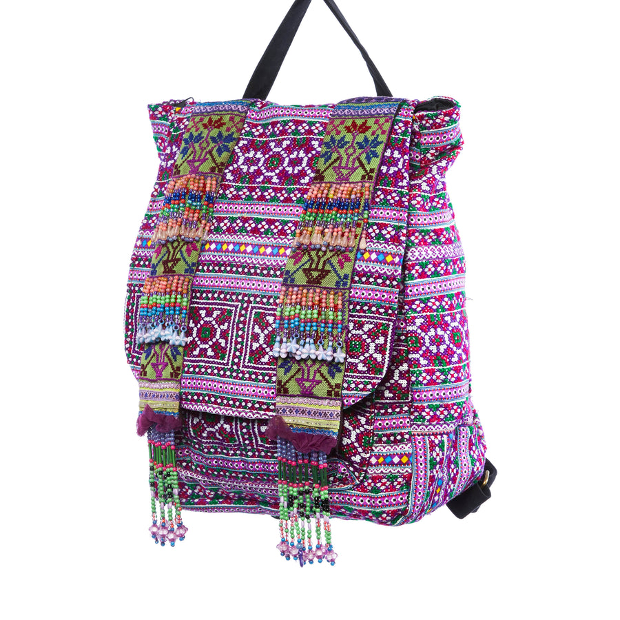 Mauli Purple Multi Color Print Hmong Tribal Backpack with hand beaded details