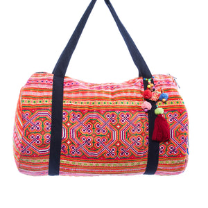 Ailani Multi Color Printed Duffle with Red Tassel Keychain