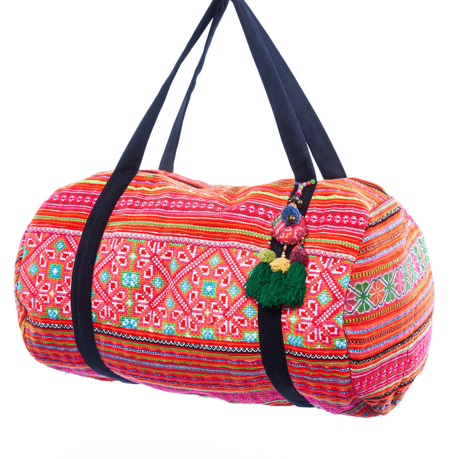 Khun Multi Color Printed Duffle with Green Tassel Keychain