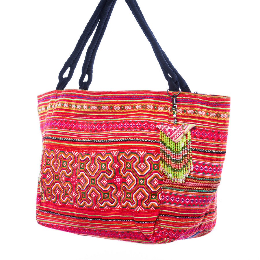 Don Pink Multi Color Hmong Textile Weekender Tote with Hand Beaded Keychain