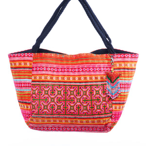 Chari Hmong Textile Weekender Tote with Beaded Tassle
