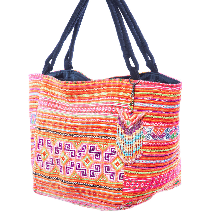 Deuon Multi Color Printed Hmong Textile Weekender Tote with Hand Beaded Keychain